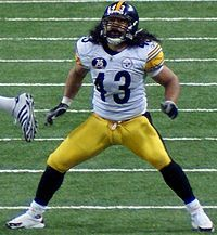 long hair  Polamalu
